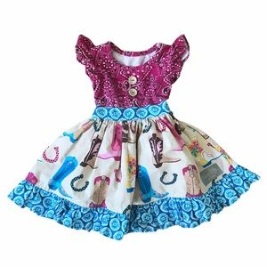 Eleanor Rose cowboy cowgirl poofy ruffle dress